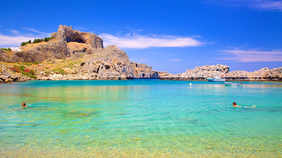 Swimming in St John's Bay, Rhodes, medieval Greece yacht charter
