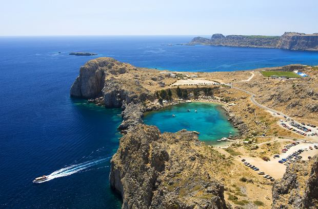 St Paul's Bay from the Acropolis, Rhodes, Greece yacht charter