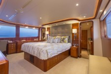 Interiors onboard Trisara, 130' Westport in Bar Harbor, Maine.