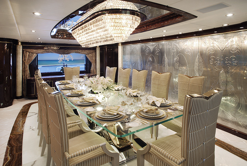 Benetti yachts for sale dining at DIAMONDS ARE FOREVER