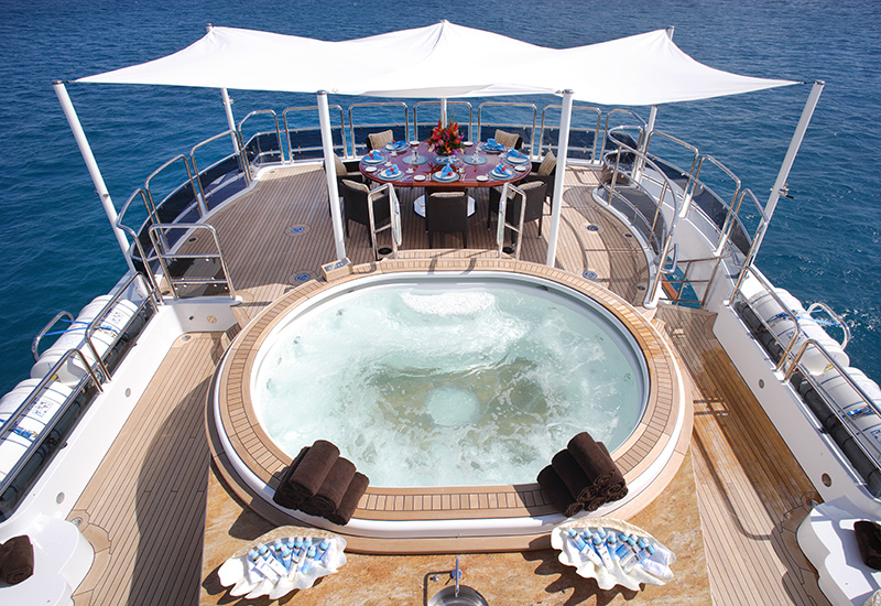 Benetti yachts for sale pool on the deck of M/Y Diamonds Are Forever