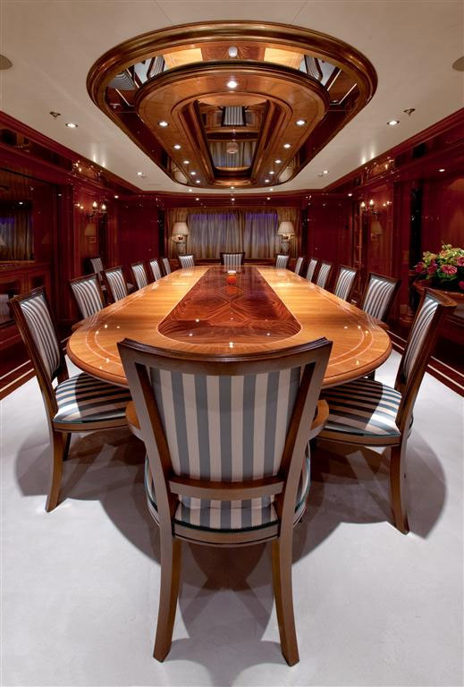 Corporate yacht charter formal dining