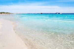 Salinas Beach, Ibiza, Luxury Yacht Charter Balearics