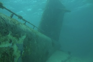Diving in the Mediterranean off France through a submarine wreck