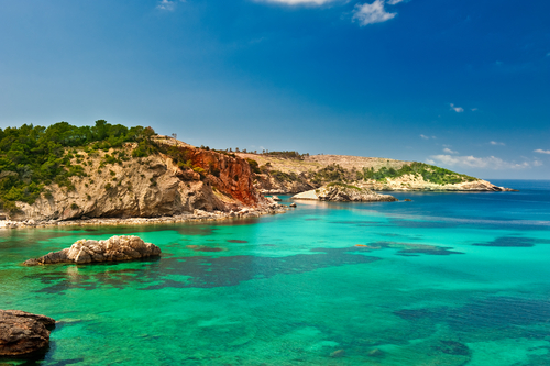 Luxury yacht charter Balearics, crystal clear water.
