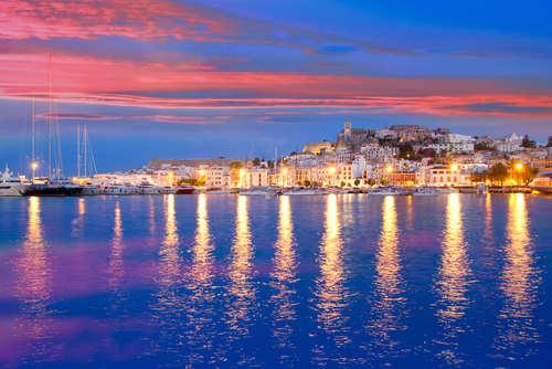 Luxury Yacht Charter in the Balearics. Lights on the water.