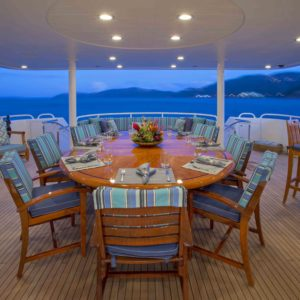 The Aft Deck on Arioso a 130-ft Westport in St Thomas.