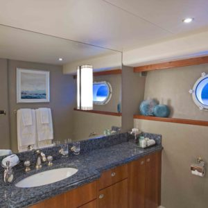 The VIP Bath on Arioso a 130-ft Westport in St Thomas.