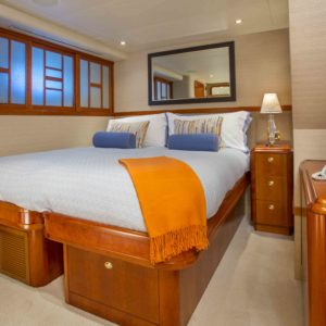 The King VIP Guest State room on Arioso a 130-ft Westport in St Thomas.