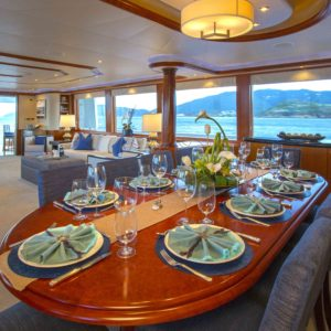 Details onboard Arioso a 130-ft Westport in St Thomas.