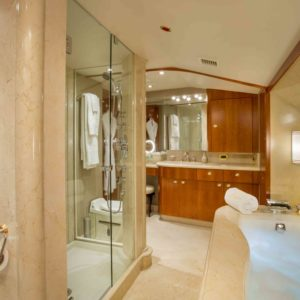The Master Bath on Arioso a 130-ft Westport in St Thomas.