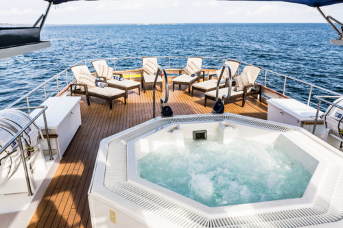 Luxury yacht charter Galapagos. Stella Maris yacht jacuzzi.