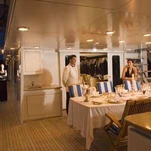 Ionian Princess yacht for sale dining on deck