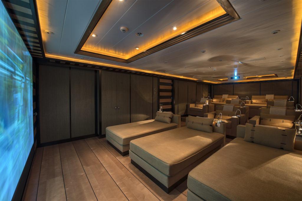Mega yachts for sale like NATITA always have cinema movie theatres