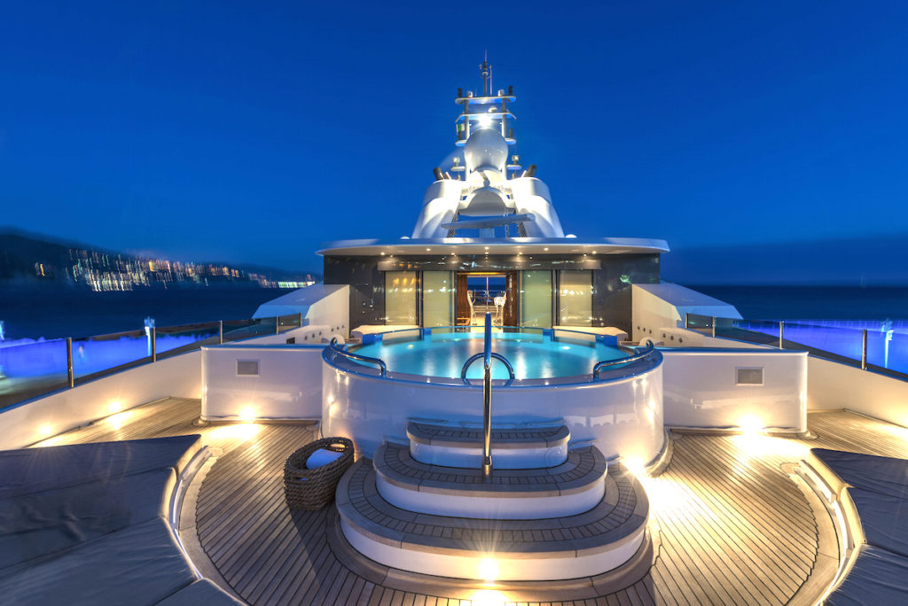 Mega yachts for sale like NATITA always have incredible sun decks and Jacuzzis