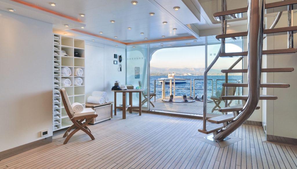 Mega yachts for sale like NATITA always have wellness centers