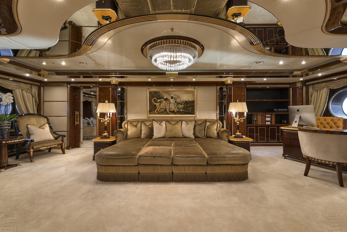 MINE GAMES yacht charter - opulent-family-sized-sofa