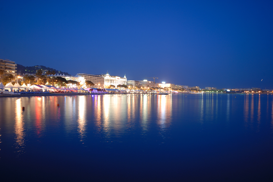 Cannes Film Festival Yacht Charter by night