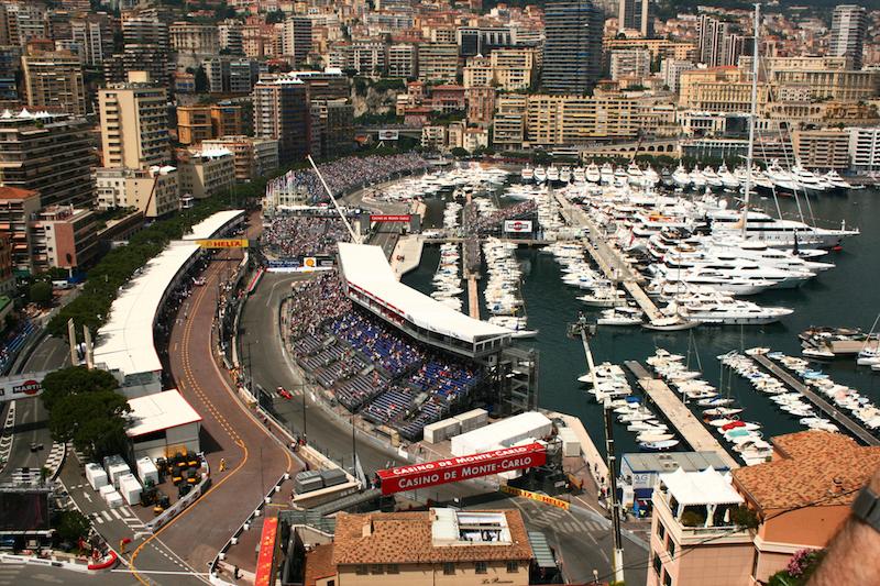 Grand Prix de Monaco Historique Yacht Charter view over Monaco Formula 1 circuit