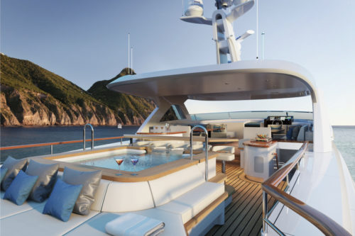 pool on the deck of Mulder yachts for sale