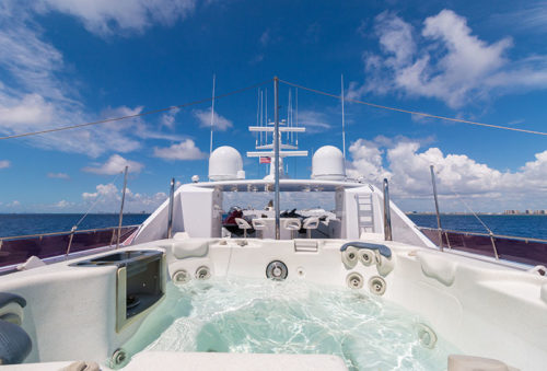 RELENTLESS 145 TRINITY YACHT FOR SALE AND CHARTER YACHT sundeck jacuzzi