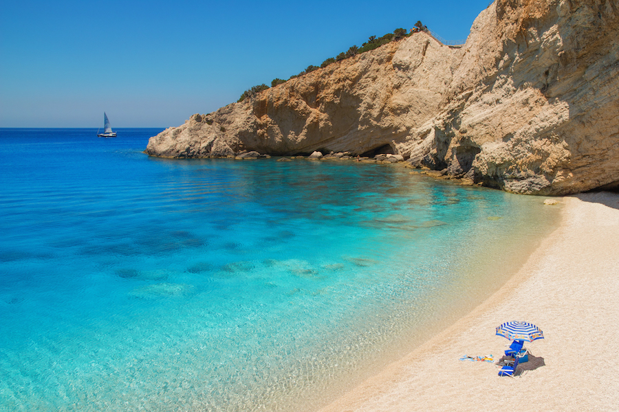 Greek Island yacht charter destinations guide. Porto Katsiki Lefkas, Greece