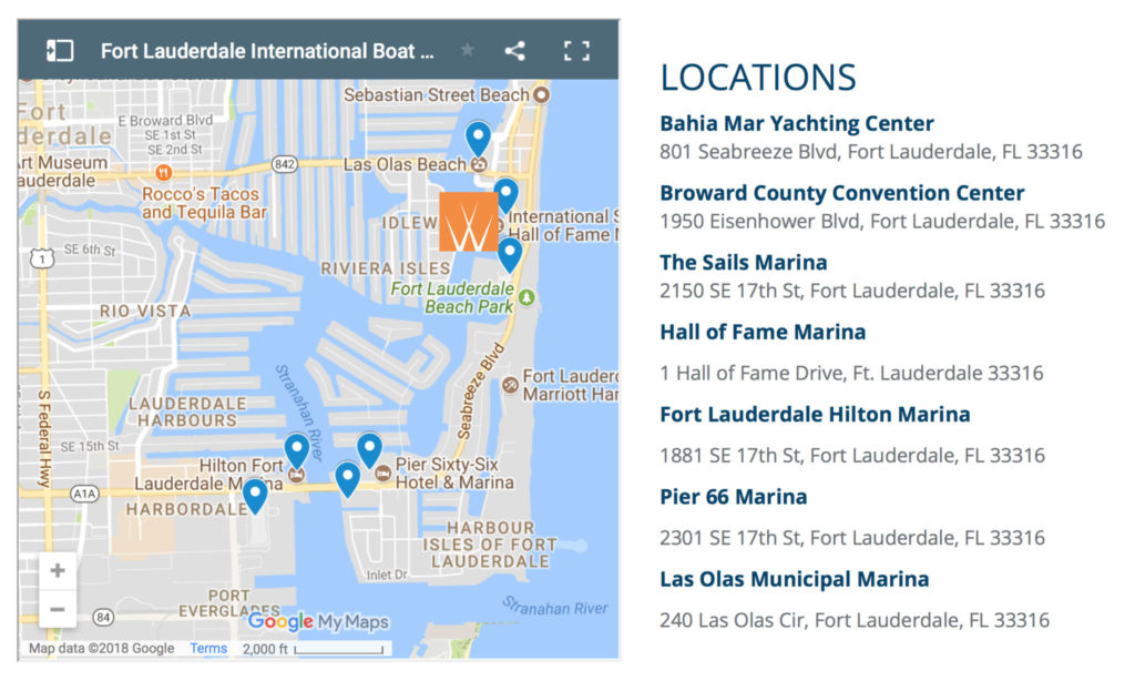 Map Of Fort Lauderdale Florida.Fort Lauderdale Boat Show Worth Avenue Yachts