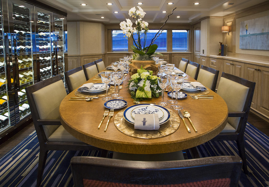 What to Expect on a Superyacht Charter - charter yacht BROADWATER dining