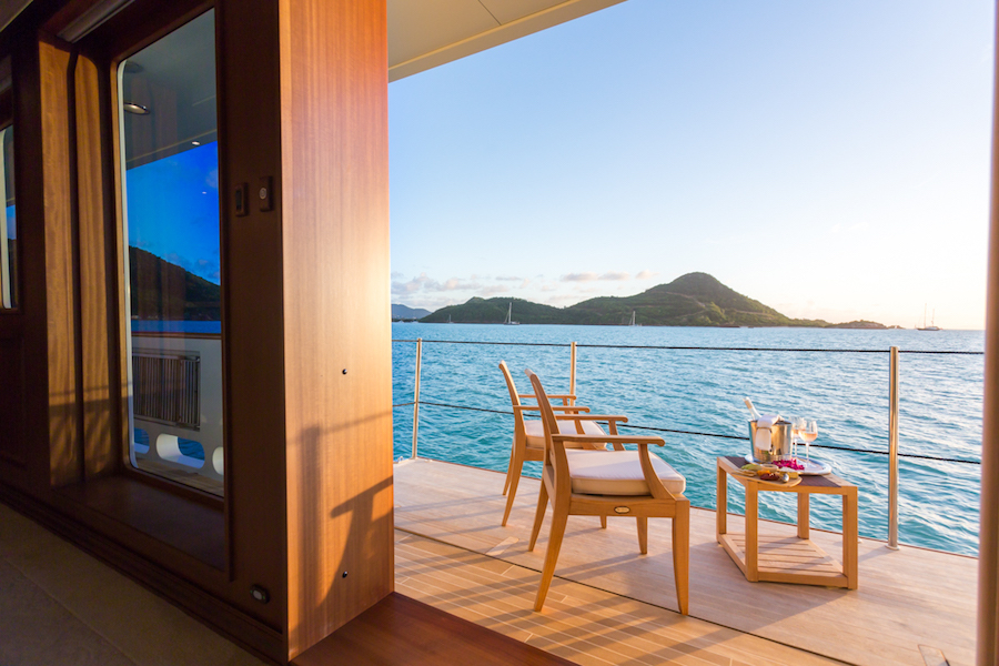 What to Expect on a Superyacht Charter - charter yacht MIM balcony