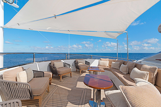 MAG III yacht for sale. The 145ft Benetti built luxury motor yacht has an ample sun terrace.