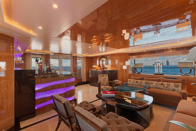 MAG III yacht for sale. Here's the stylish salon bar on this 145ft Benetti luxury motor yacht.