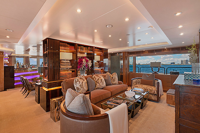 MAG III yacht for sale. Here's the cosy salon on this 145ft Benetti luxury motor yacht.