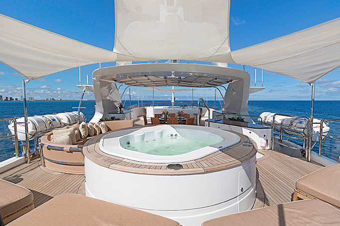 MAG III yacht for sale, a 145ft Benetti built luxury motor yacht with Jacuzzi on deck.