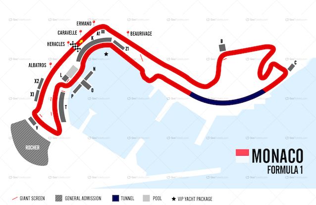 Yacht Charter Monaco Grand Prix Map