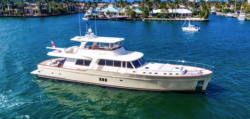 Chanson Yacht on display at the 2019 Palm Beach International Boat Show