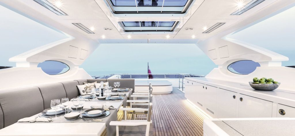 Dining on Alia yachts for sale