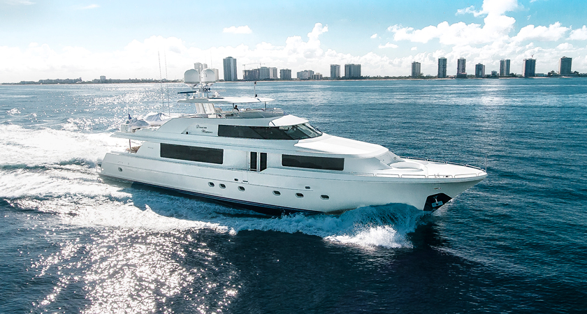 Dream Weaver Yacht on display at the 2019 Palm Beach International Boat Show
