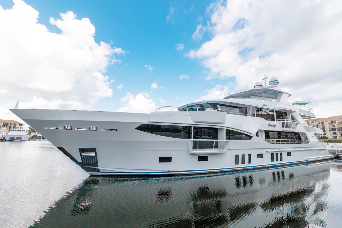 Serenity Yacht on display at the 2019 Palm Beach International Boat Show