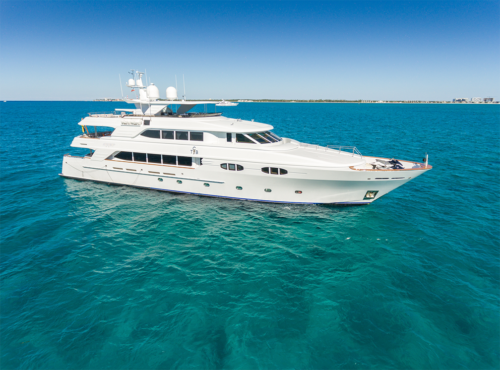 TCB Yacht on display at the 2019 Palm Beach International Boat Show