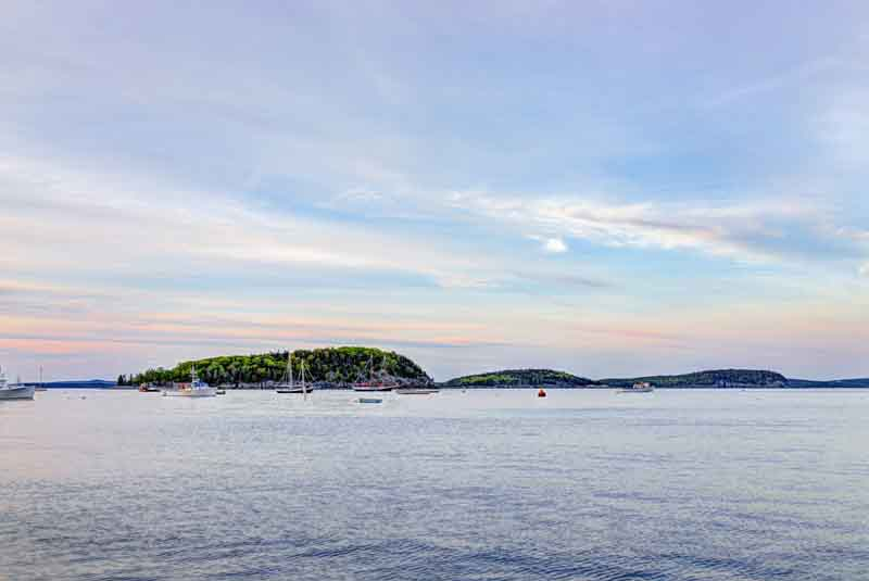 View from Bar Harbor on coastal Maine yacht charter