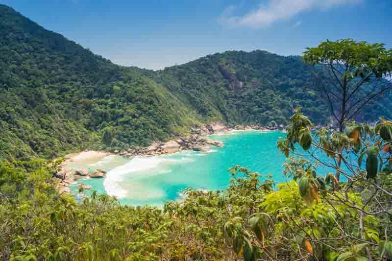 Lush views of Ilha da Cotia on a Brazil yacht charter