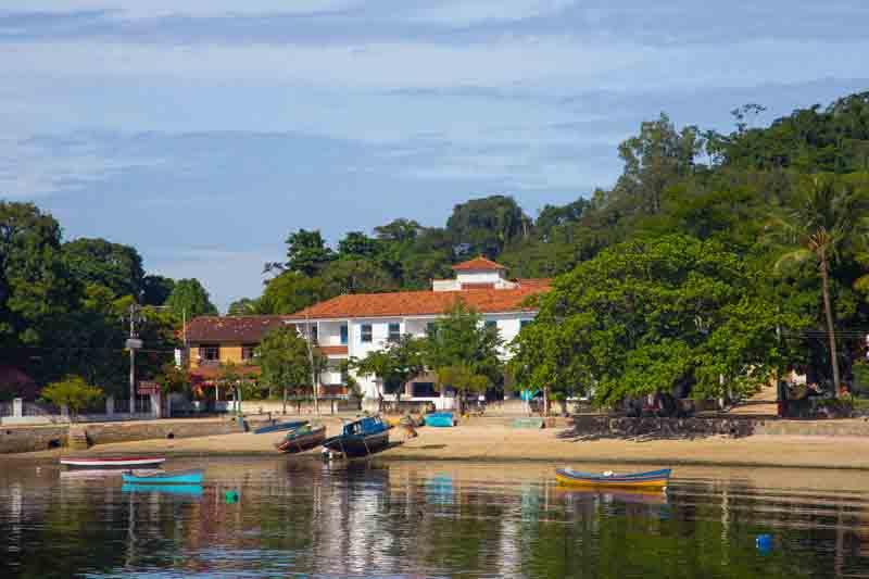 View of a town on Ilha de Paquetá on a Brazil yacht charter
