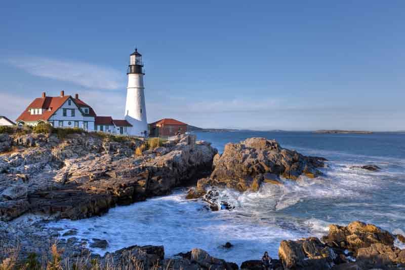 Portland yacht charter lighthouse ontop a cliff