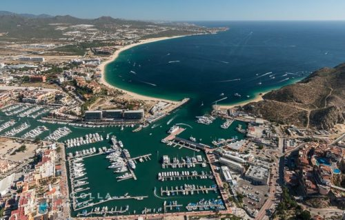 View of Cabo San Lucas downtown and marina on a Sea of Cortez yacht charter