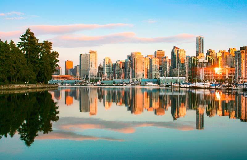 Vancouver skyline on British Columbia yacht charter