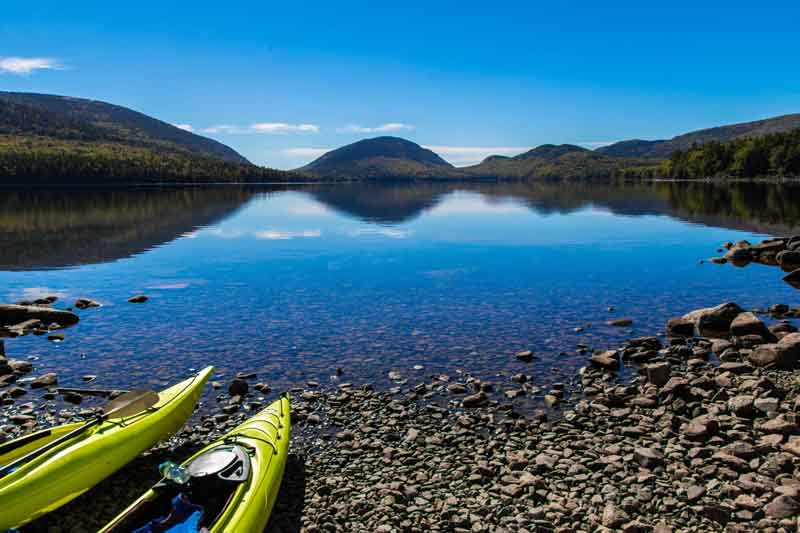 Kayaks in Acadia National Park on coastal Maine yacht charter