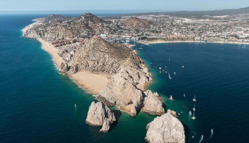 Aerial photograph of Land's End and the Arch in Mexico on a Sea of Cortez yacht charter