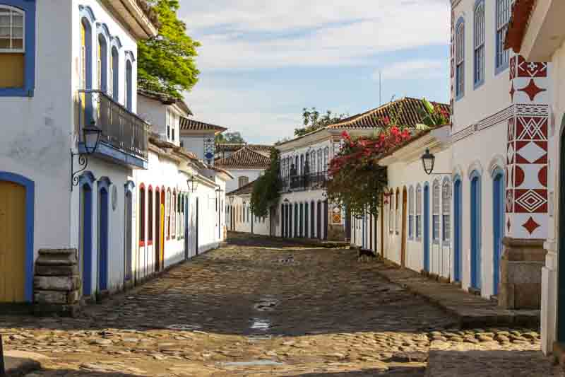 The lively streets of Paraty on a Brazil yacht charter