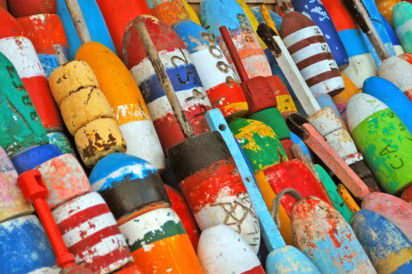 Colorful buoys on New England yacht charter