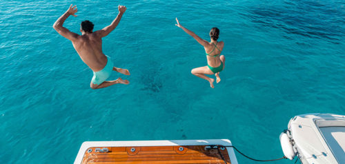 Jump in azure water on Bahamas yacht charter